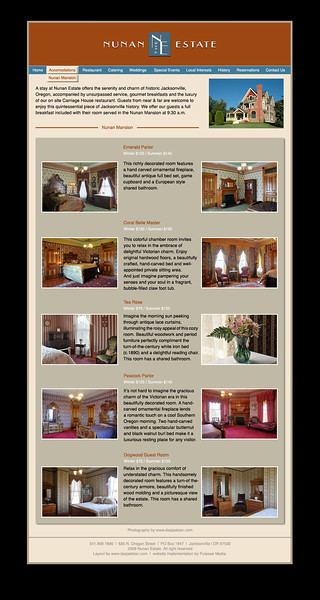 Accommodations website page