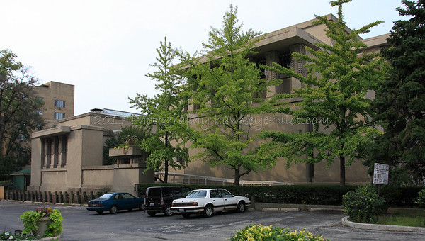 Unity Temple, as seen from the East, Looking West. The social hall is dwarfed by the sanctuary.
