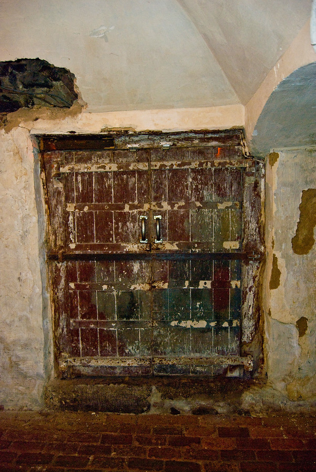 This door which is located in the kitchen area of the dungeon is actually the entrance to an underground tunnel system that runs all over the downtown area of Chambersburg.  No one knows for sure what they were used for, but speculation says either for the underground railroad or to move important people throught the town without being detected.