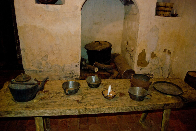 This is the kitchen as it were back then, and some of the items for cooking and eating.
