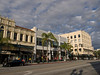 The center of Old Pasadena at Colorado and Fair Oaks. From left ot right, the Ritz Hotel, the Carodin's, the Colfair Building and the Exchange Block building to the far right. Spanish Colonial Revival, Art Deco, Art Deco and Mediteranean respectively. File No. OldPas3377