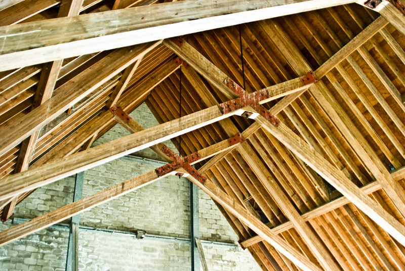 Interior rafter view. For many years the church sat with no roof. Now it is stabilized and maintained for public enjoyment.