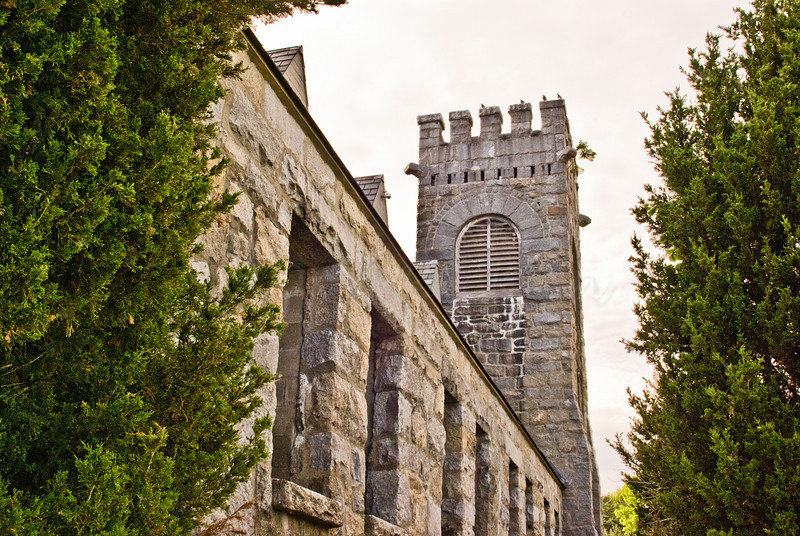 One side of the Old Stone Church sowing tree growing from tower.