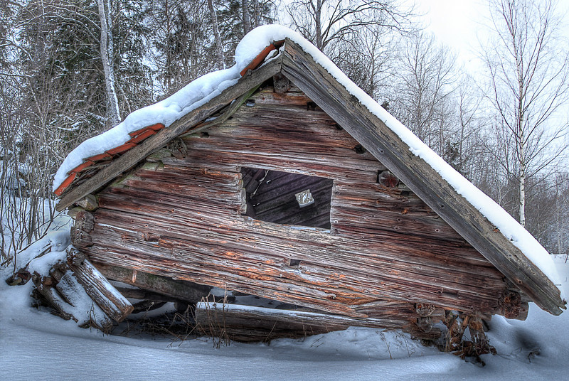 Old House #4, 2010. This old building is located about a mile from where the house I grew up, in Morgongåva, Sweden. It's been on the verge of collapsing as long as I can remember. I took this photo to capture it before to finally gives in.