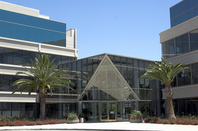 A glass fronted American office building