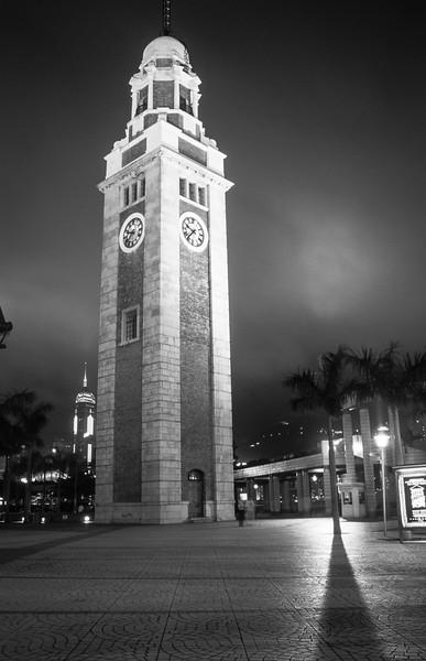 Former Kowloon-Canton Railway Clock Tower At Night, Kowloon, Hong Kong