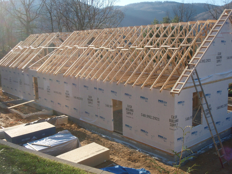 It took about 1/2 a day to get all these trusses in place with a crane.