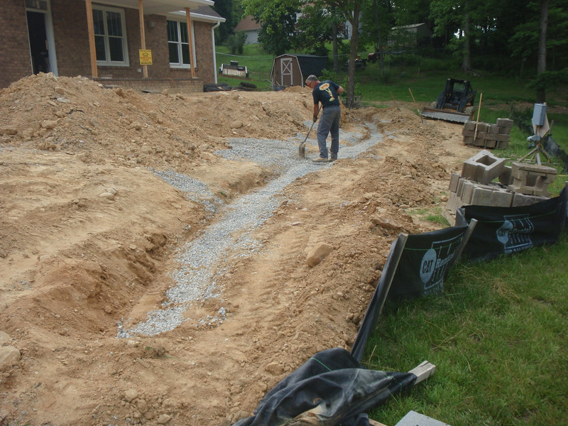 Footer for the retaining wall.