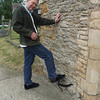 Before entering the church, Mike cleans off his shoes on the old mud scraper that is built into the wall. These scrapers were common in Georgian times and throughout the Victorian era.
