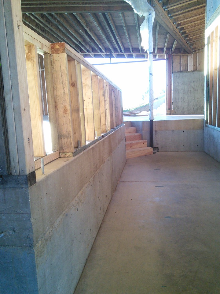 Where the ramp will lead from the entry to the main floor.