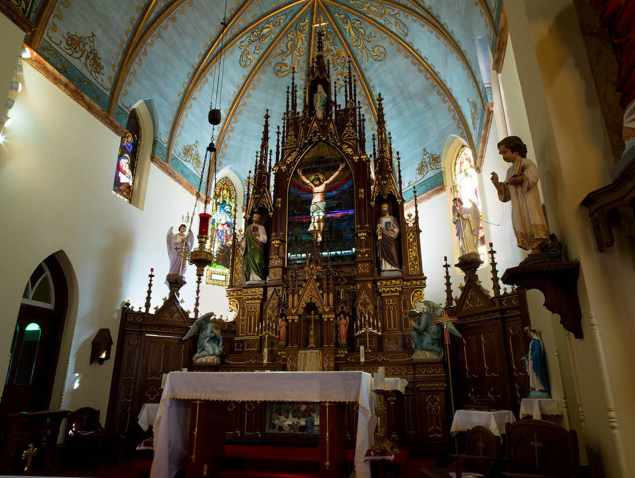 Close up of Altar at St. Mary's, High Hill, Texas
