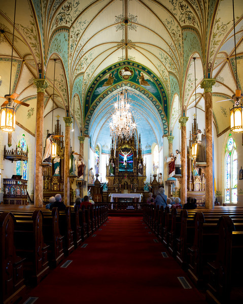Inside St. Mary's Catholic Church in High Hill, Texas.