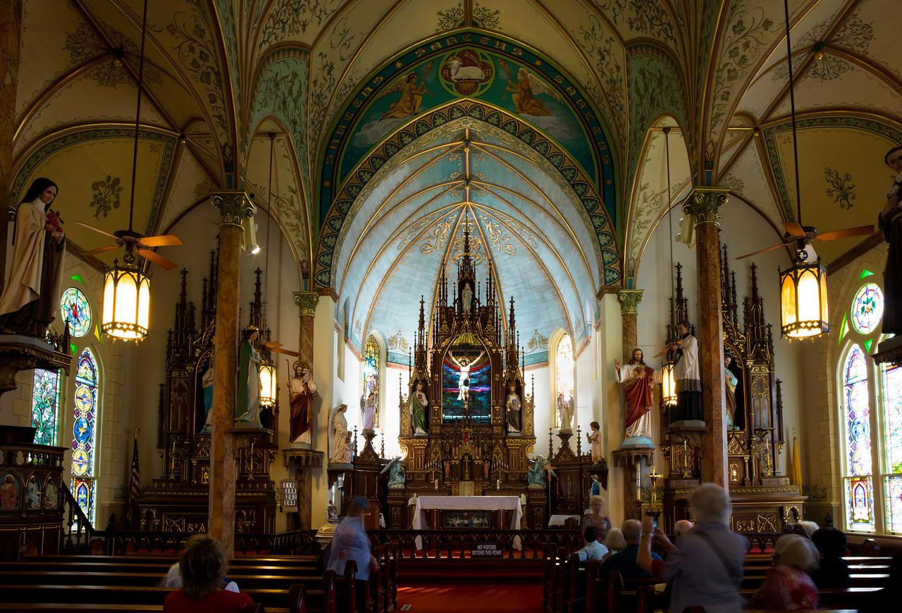 Inside St. Mary's Catholic Church in High Hill, Texas.