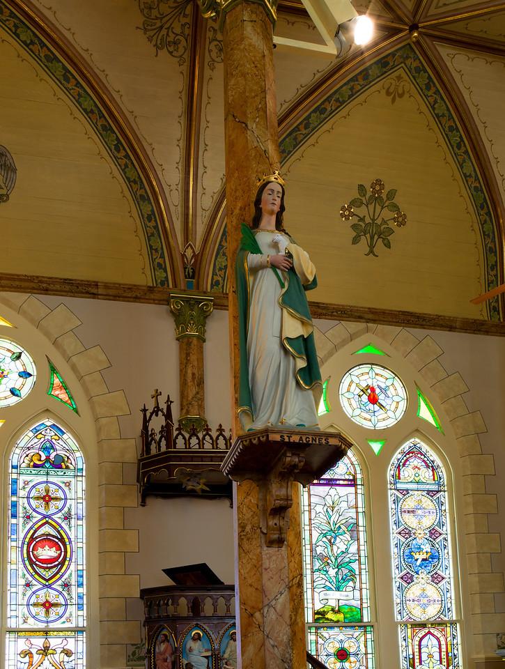 St. Agnes.  Inside St. Mary's Catholic Church in High Hill, Texas.