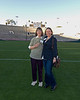 Pasadena Heritage Society Executive Director, Sue Mossman and Board of Directors member, Maggie McGaines on the Rose Bowl field. The scorebaord renovation in the background is ongoing.