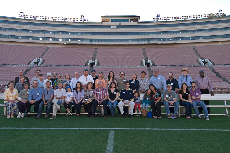 The Rose Bowl looks completely different from the middle of the field than it does from the stands or on TV. Wow, what a sweeping view! Here is the group of preservationists and patrons of historic architecture from Pasadeana Heritage and California Preservation who attended Rose Bowl the tour.