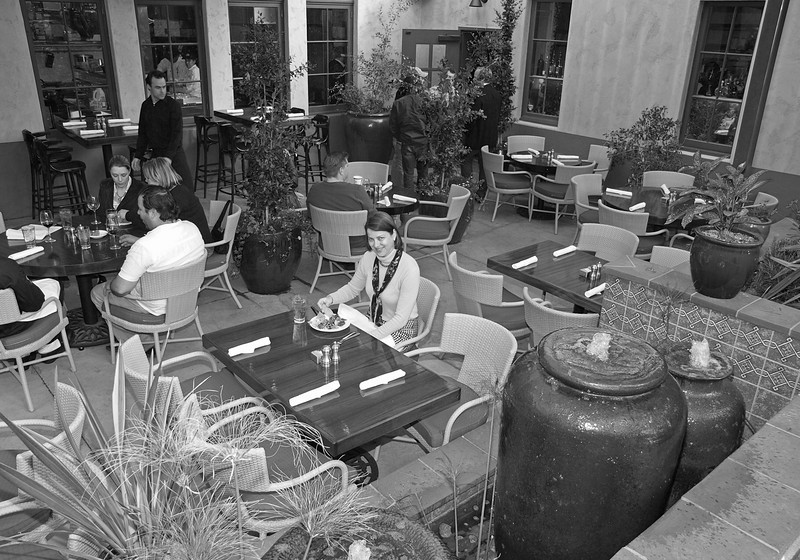 #31: The original color image was converted to B&W in Photoshop CS2 by desaturization. The highlight and shadow detail was brought up to improve contrast in the foreground and improve the darker water pots.Pasadena Heritage staff member and education coordinator, Holly on the outdoor patio of La Grande orange Cafe. Olympus E-3, 14-54 mm lens & FL-50 flash at ISO 200, 14 mm (28 mm) f/4.5, 1/125 sec.