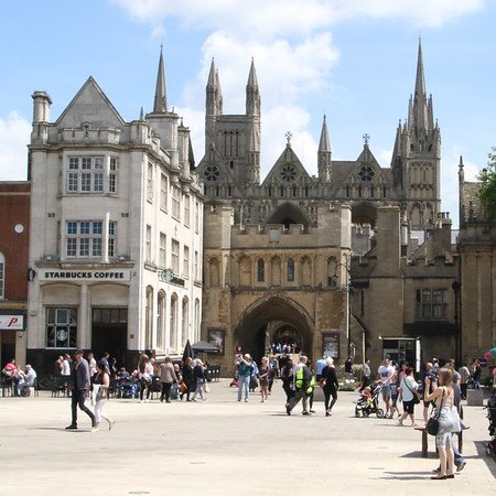 Gateway to Peterborough Cathedral and Starbucks