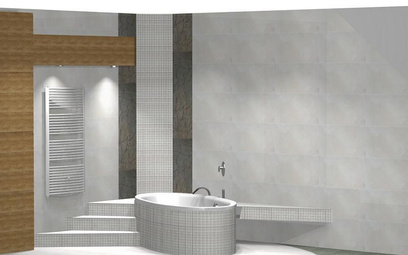 Wersja 4a - troszkę łyso na ścianie z prawej strony. Szafki będą jak w wersji 3. Na ścianach Alabastrino Tubądzin. Została użyta drobna mozaika.