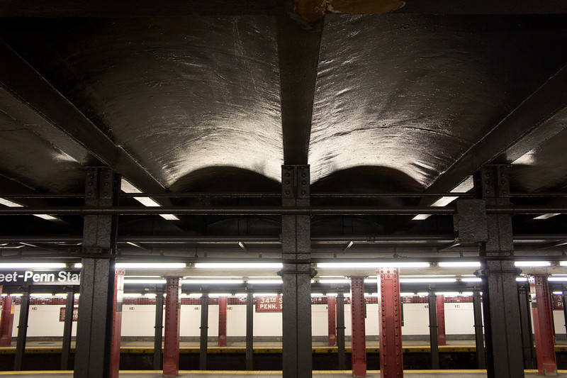 Detail of the roof and ironwork at the 34th Street - Penn Station subway station.