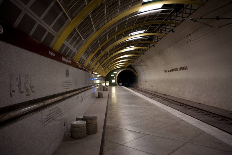Washington Park MAX station in Portland, Oregon.  This is the deepest underground subway station in North America.