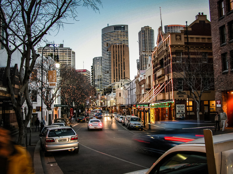 Sydney, Australia<br /> George St, The Rocks. The Observer Hotel on the right.