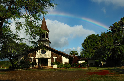 A rainbow over Queen Lili'uokalani Church North Shore of O'ahu, Hawai'i