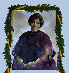 Queen Lili'uokalani, 1838 - 1917            Last reigning Monarch of the Hawai'ian Dynasty  This portrait which is under the clock, was donated by the George Awai Family, 1976 North Shore of O'ahu, Hawai'i