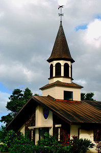 Close-up of Queen Lili'uokalani Church under a cloudy sky North Shore of O'ahu, Hawai'i