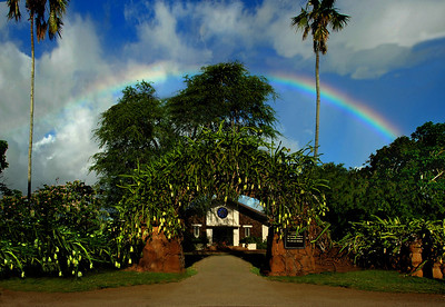 Rainbow over Queen Lili'uokalani Protestant Church in Hale'iwa North Shore of O'ahu, Hawai'i
