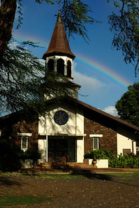 Lili'uokalani Church with a rainbow over it North Shore of O'ahu, Hawai'i