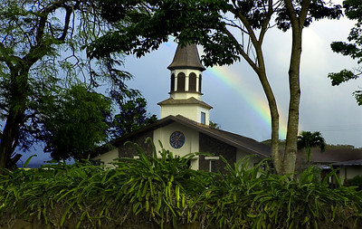 Lili'uokalani Church with a rainbow on a misty day North Shore of O'ahu, Hawai'i