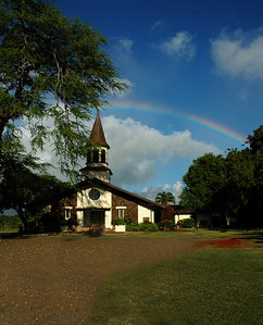 Lili'uokalani Church and a rainbow North Shore of O'ahu, Hawai'i
