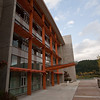 The main entrance of the Library at Quest University in Squamish.