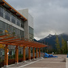 Snow-capped mountains are visible from most vantage points at Quest University in Squamish.  The library is on the left and the academic building at right.
