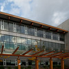 Close-up of the Library building at Quest University in Squamish.