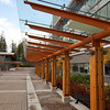 Walkway past the library towards the University Services Building (cafeteria) at Quest University in Squamish.