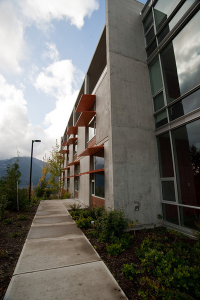 Detail of the Academic Building at Quest University, Squamish.
