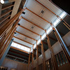 Looking up into the three-storey library atrium at Quest University in Squamish.  The top floor appears to be an empty shell for the moment.