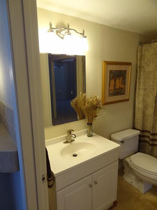 Looking into the bathroom. The premium quality lighting fixture and the beveled mirror are new.