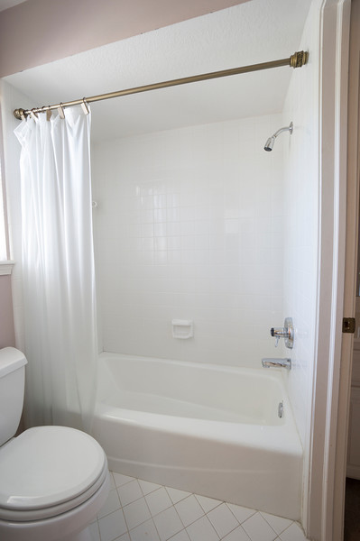 more of the boys bath. replace tile floor and paint only. Maybe put a sliding glass door instead of the curtain. Leave the tub surround for cost.