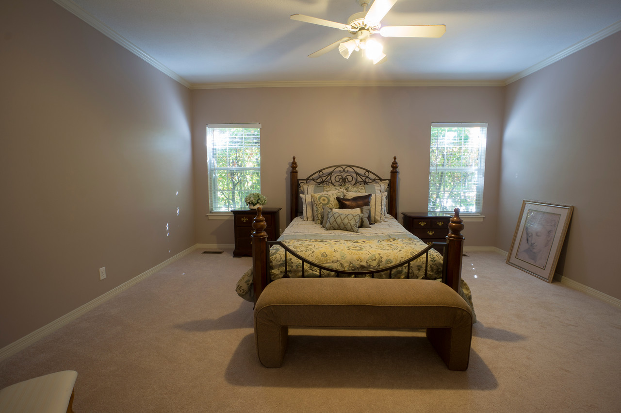 Paint & fan. Furniture needed: new bed, End tables, bedding, bench, dresser?, chaise/lounge (Eames lounge?), window treatments.