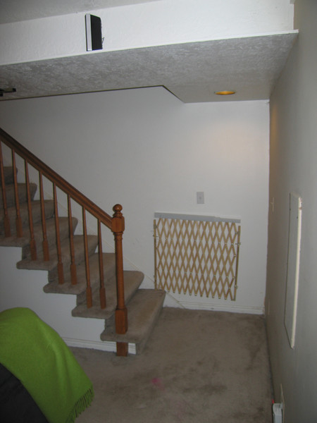 stair landing - we'd like to have a door here to isolate the basement