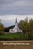 White Church in Distance on Overcast Autumn Day, Waupaca County, Wisconsin