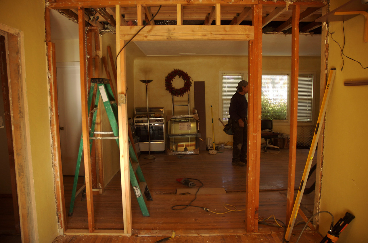 This is the view entering the office from the patio.  The door frame is for the new pocket doors leading into the living room.