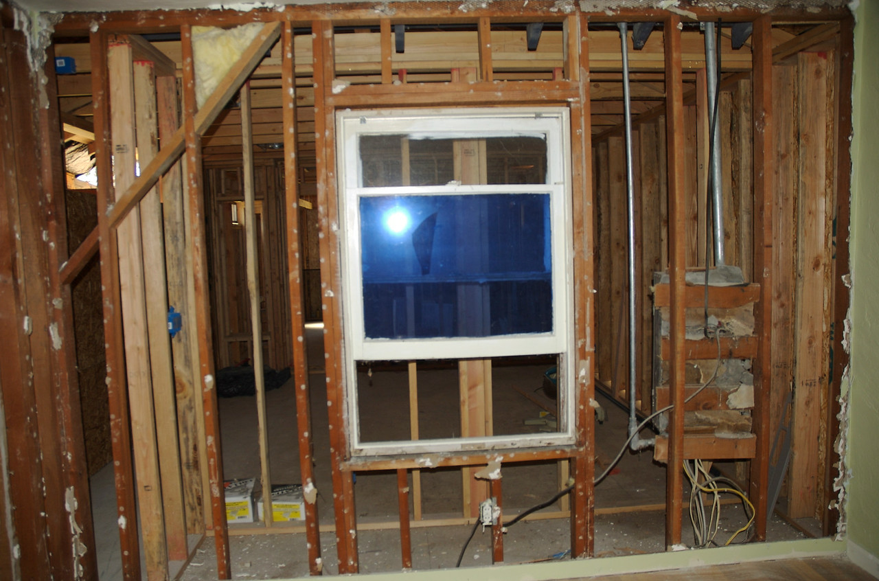 This used to be the exterior wall in Nate's bedroom. The new addition is the new master bedroom and bathroom.