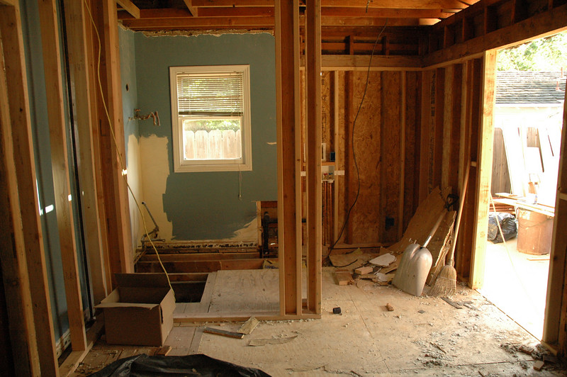 This is the view from the kitchen looking into what was the laundry room, and the newly captured corner of the house.