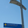 Extraordinarily precise signage leads visitors along the dike to the Richmond Olympic Oval.