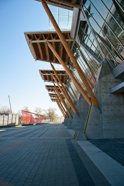 Up close on the north (river) side of the Richmond Olympic Oval.