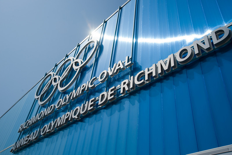 "After much protest, the original ""Richmond Olympic Oval"" sign was replaced with this bilingual version."
